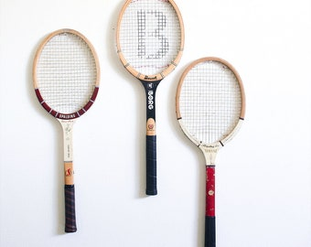 Vintage Tennis Racket / Set of 3 / Instant Collection / Retro Sports Decor / Mixed Lot