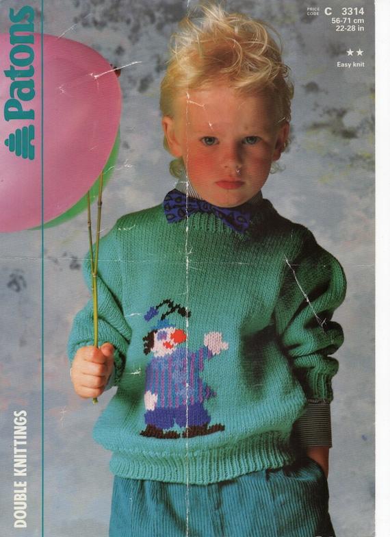 Sale Childrens Clown Sweater Knitting Pattern Pdf Childs Jumper