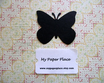 50 Black Butterfly Die Cuts- 2 inch cardstock-  Free Secondary Shipping