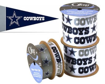 NFL Dallas Cowboys Ribbon, 4-pack of Ribbon & Mini Pennant, Licensed NFL Offray Ribbon