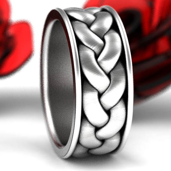 Celtic Braid with Border Sterling Silver Ring, Wide Wedding Band, Mens Silver Wedding Ring, Bold Sterling Ring, Made in Your Size CR-1060