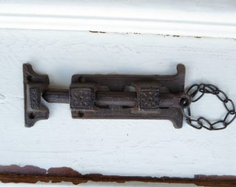 Rustic Cast Iron Metal Door Cabinet Latch Hardware ~ DIY Project Supplies ~  Slide Latch