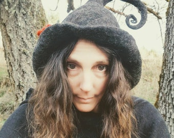 Witch Hat ~  Felted Black Wool