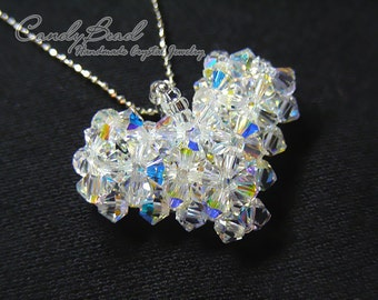 Crystal Necklace; Swarovski Necklace; Glass Necklace; Aurora Borealis Swarovski Crystal heart pendant necklace by CandyBead (N001-01)