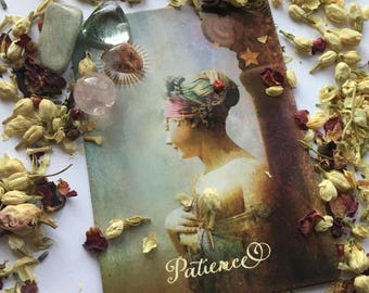 Patience: Stone & Tarot Card Sets    Gift for Friends, Co-workers, Family. Stone Kits, Oracle Cards, Metaphysical Gifts, Healing Crystals