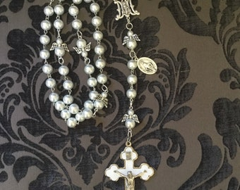 Jumbo Pearl and Angel Rosary