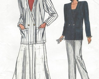 80s Womens Cardigan Style Jacket, Skirt & Pants Vogue Sewing Pattern 9791 Size 20 22 24 Bust 42 44 46 UnCut Very Easy Very Vogue Patterns
