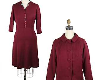 1940s Dress // Burgundy Gabardine Wool Dress with Matching Jacket