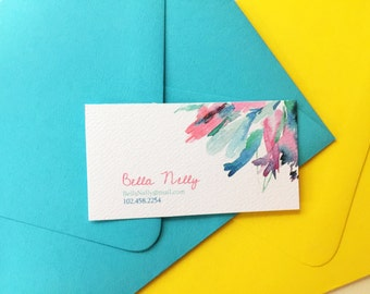 Business Card / Floral Pattern / Custom Business Card / Flower Personal Card / Personal Information / Set of 50