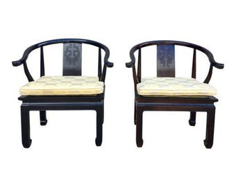 Pair of Vintage Asian Ming Style Chairs, Century Furniture