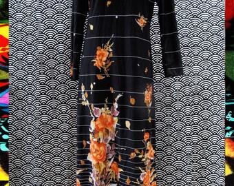 Vintage 70's Long Sleeve Floral Maxi Dress