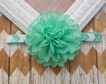 Mint flower headband, mint headband, girls mint headband, toddler headband, baby headband, flower headband, mint flower, mint hair accessory