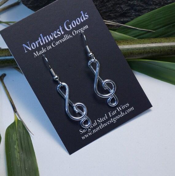 Aluminum Clef Note Earrings