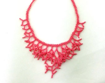 Hot Pink Necklace. Wedding Necklace. Gift For Wife. Bridesmaid Necklace. Beadwork
