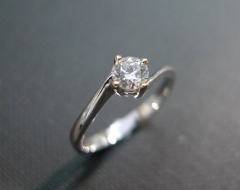 Diamond Engagement Ring in 14K White Gold (0.25ct, F/VS), Solitaire Diamond Ring, Diamond Band, Solitaire Engagement Ring, Solitaire Ring