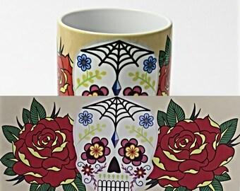 Sugar Skulls, Sugar skulls coffee mug, , Day of the Dead, Sugar Skull Gifts.