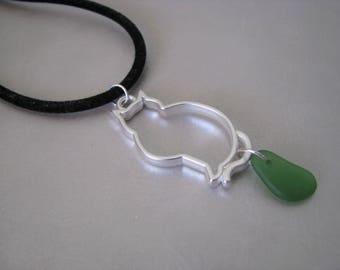 Cat Beachglass Jewelry - Ocean Jewelry Green Pendant - Pure Sea Glass Pendant - Sea Glass Necklace - Prince Edward Island