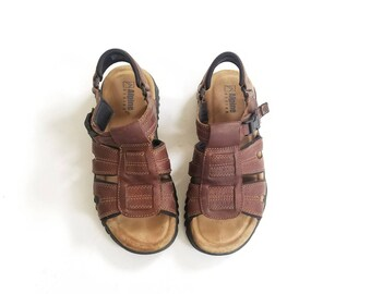 Vintage Mens 10 Alpine Design Brown Leather Sport Sandals Comfortable Walking Shoes Sandal Outdoor Mountaineering Hiker Hippie Natural Shoes