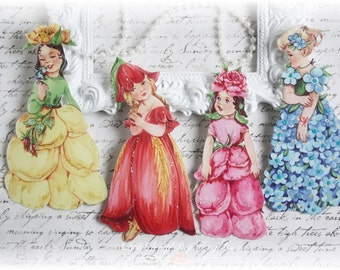 Flower Girl Die Cut Embellishments for Scrapbooking, Cardmaking, Mixed Media, Altered Art