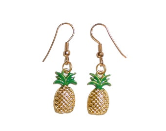 Gold Textured Pineapple Earrings - fruit earrings summer earrings yellow pineapple fruity jewelry copper pineapple fruit jewelry earrings