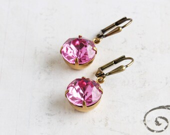 Pink Rhinestone Earrings, Rose Pink Earrings with Antiqued Brass Hooks, Round Pink Dangles, Vintage Glass, Prom Jewelry