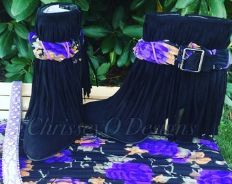 New in box, black fringed booties
