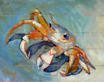 Crab Giclee Print on wood  plank, beach wall decor,  size of your choice, free shipping, ready to hang, Choose your Size, No Frame Needed