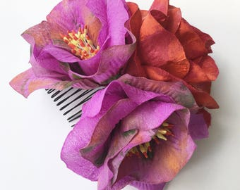 Purple flowers comb hairpiece, Red floral hair decoration, Paper flowers headpiece, Floral hair accessories