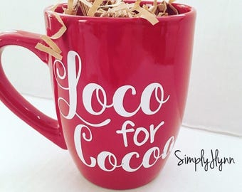 Loco for Cocoa, cocoa mug, hot chocolate mug, hot cocoa mug, gift for her
