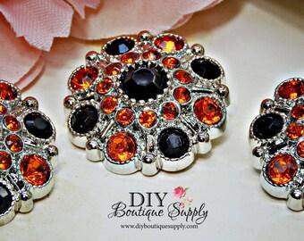 10 pcs Large HALLOWEEN Rhinestone Buttons Orange & Black - Rhinestone Embellishments Acrylic Flower centers Headband Supplies 28mm 174040