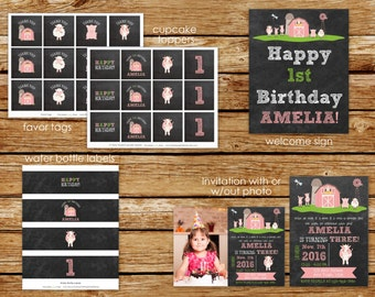 Pink Farm Birthday Party Package | Pink Farm Chalkboard Invitation | Barnyard Bash Party | Party Decorations | Farm Party for Girls