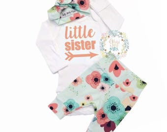 Newborn Baby little sister coming home outfit floral on light blue theme going home set hello world baby shower gift coming home outfit