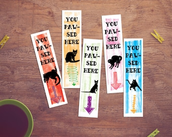 Digital Bookmark, Printable Bookmarks, Instant Download, Cat lover gift, Book lover gift, Unique bookmarks, Printables for Book Lovers, Paw