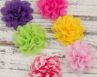 Artificial Fabric Flowers For Headbands Chic Shabby Chiffon Lace Flowers For Mesh Hair Accessories Diy Flower Supplies 4.5""