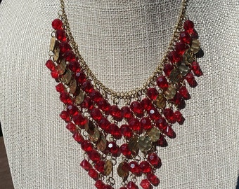 Vintage Red Bead Gold Tone Drape Necklace