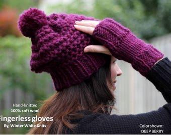 WOOL GLOVES, fingerless gloves, fingerless mittens, 100% soft wool gloves, knit mittens, soft wool mittens, winter mittens, winter gloves