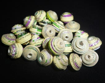 """Organic """"herbal"""" set of 26 off-white cardboard beads with touches of green and purple"""