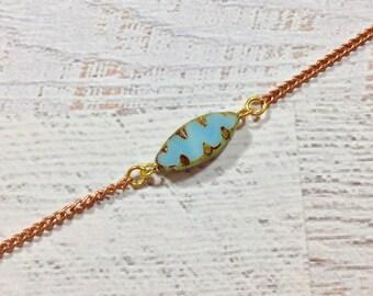 Minimalist Necklace, Simple Choker Necklace, Czech Glass Bead Necklace, Blue Petal Necklace, Layering Necklace