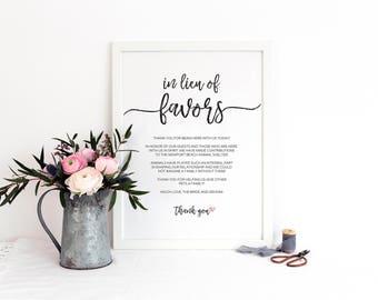 In Lieu of Favors Sign / Printable / Instant Download / Wedding / Brushstroke BR
