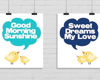 Good Morning Sunshine, Sweet Dreams My Love Wall Art Posters, Bird Wall Art, Good Morning Wall Print, Printable Wall Art, Digital Art
