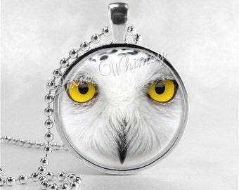 SNOWY OWL Pendant Necklace, Snowy Owl Art Jewelry, Owl Jewelry, Owl Charm, Glass Photo Art Necklace