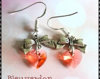 Swarovski heart earrings salmon