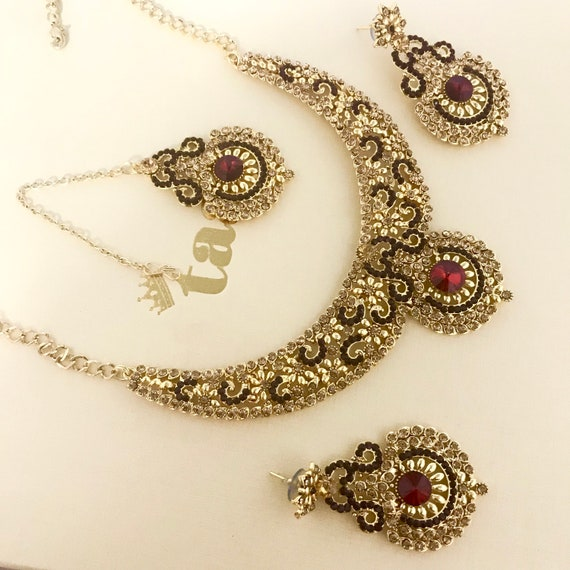 Shelley Gold maroon diamanté necklace earrings and tikka set, indian bridal Pakistani party jewellery
