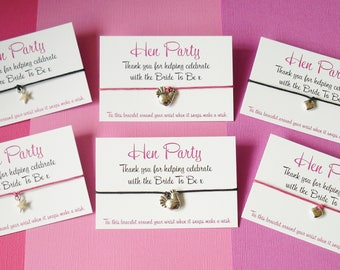HEN PARTY... Thank you Wish Friendship Charm Bracelet Gift & Envelope