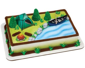 Camping Cake Topper/ Campers  Birthday Cake Topper/ Outdoors Cake Kit/ Camping Cake Kit/ Camping in the Woods Cake Kit Topper