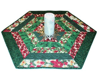 Poinsettias Quilted Table Runner, Green Hexagon Table Topper Quilt, Christmas Holiday Candle Mat, Quiltsy Handmade Patchwork Centerpiece