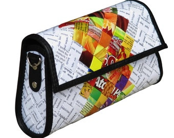 Trapezoid cross-body / clutch candy wrappers, FREE SHIPPING, Upcycled bag, crossbody purse, Recycled hipster bag, shoulder bag, sweets gum