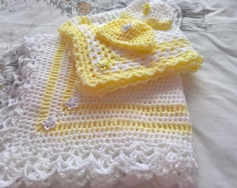 Hand Crochet Custom made in all colours Baby Shawl,Hats and Matching Car Seat Blanket