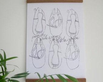 Ballet Shoes A4 Monochrome Print
