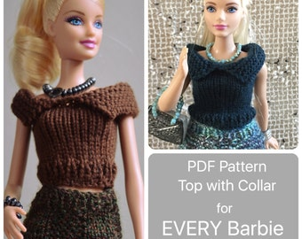 Curvy Barbie Pattern for Sweater Top with Collar, Easy Knitting instructions for ALL of Barbies New and Existing Body sizes